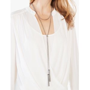 BCBG CHAIN NECKLACE LAYERED TASSEL SILVER TONED
